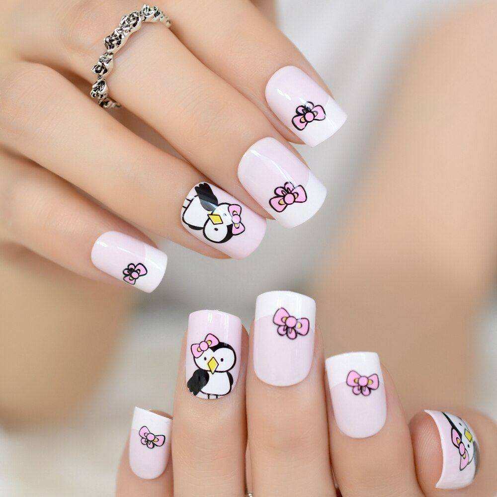 Baby Pink Nails With Bow Penguin Design