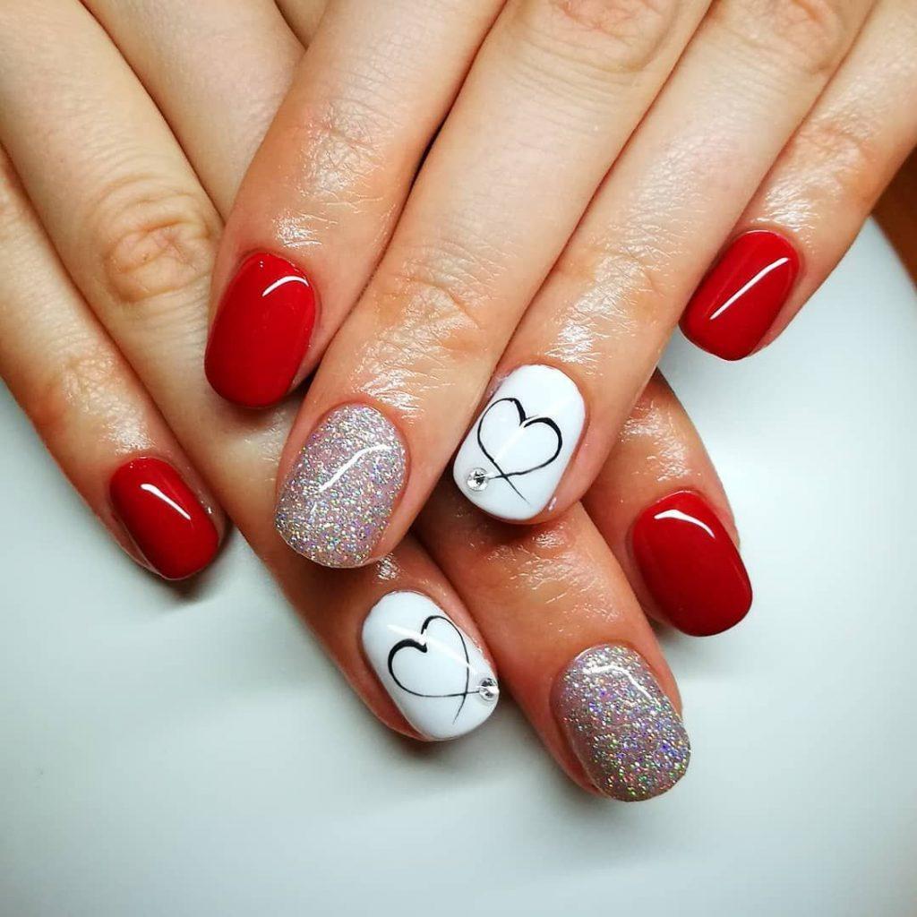 Red Gloss Valentine Nail Design