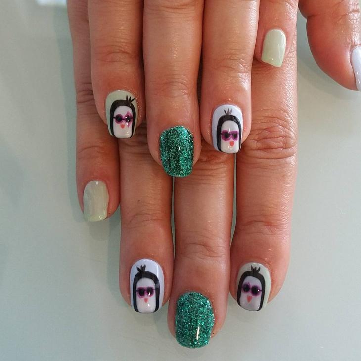 Cute Green Glitters Penguin Dsign