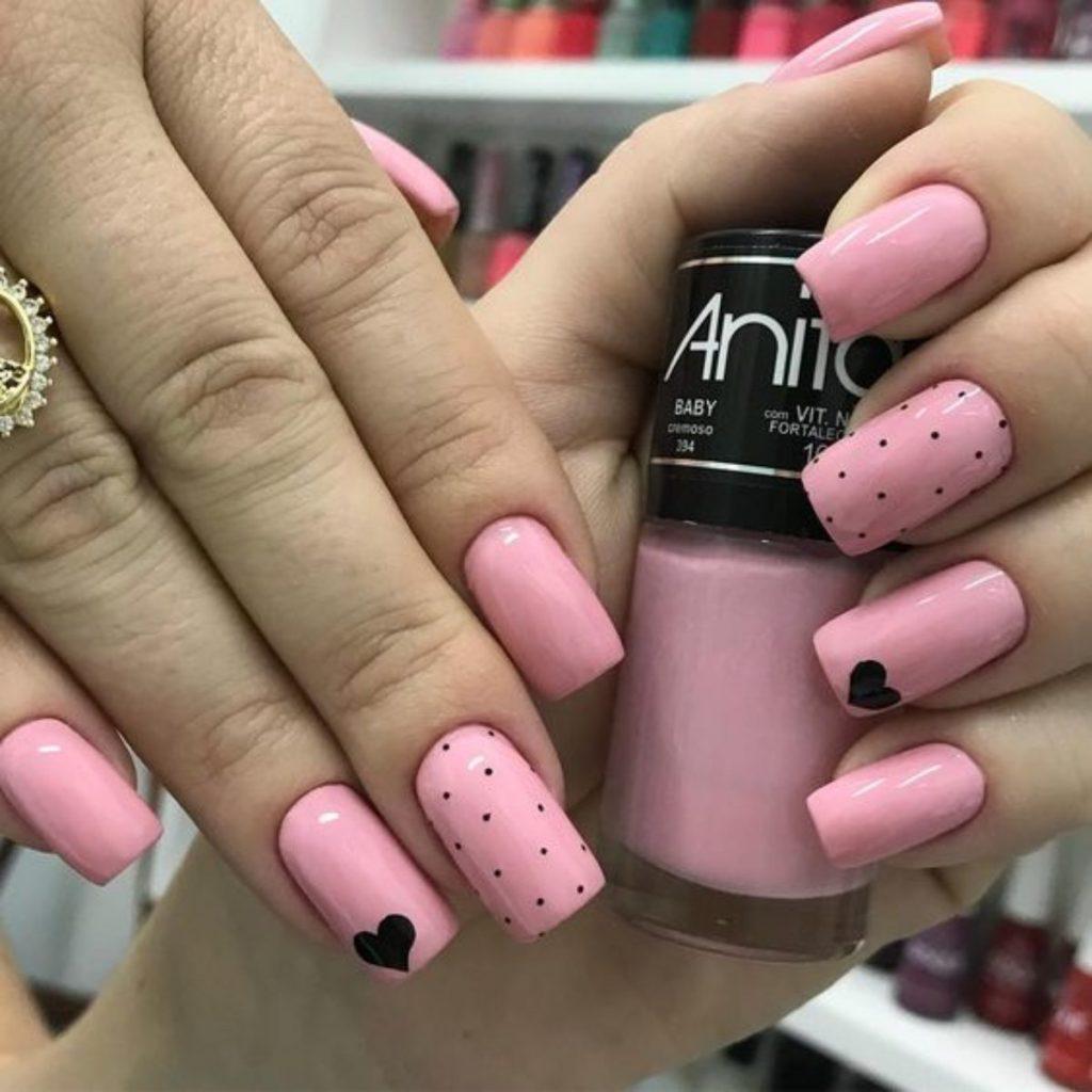 Hot and pink and black nail art