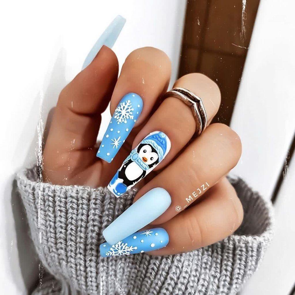 Mismatched Penguin And Snowflake Art Design