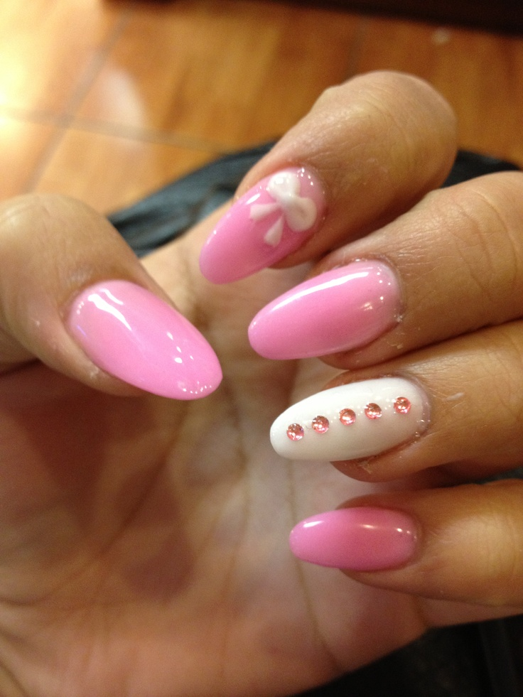 Cute Pink Nail With Bow
