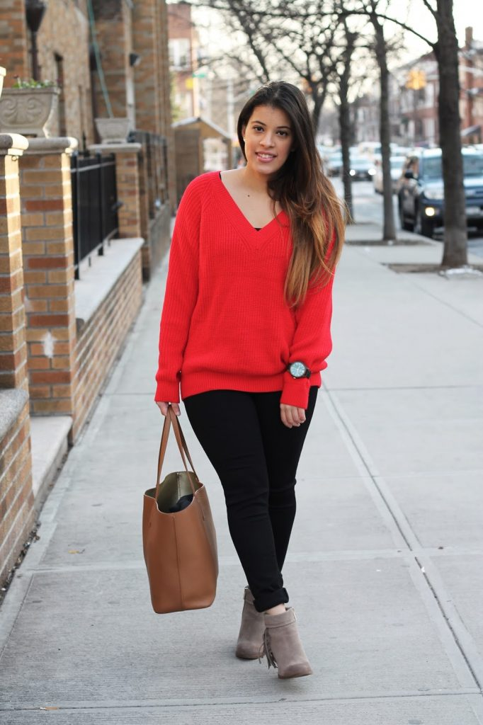 Red Knit Sweater For Comfortable V-day