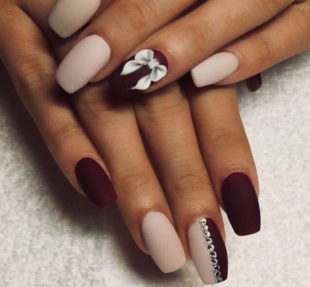 Nude And Burgundy Nail