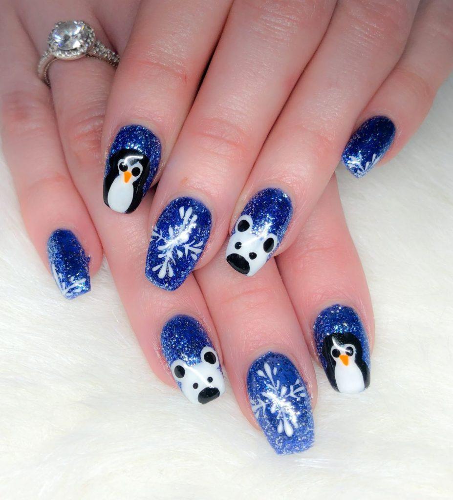 Penguin And Polar Bear Nail Art Design