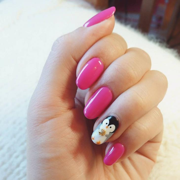 Pretty Pink Penguin Nail Art