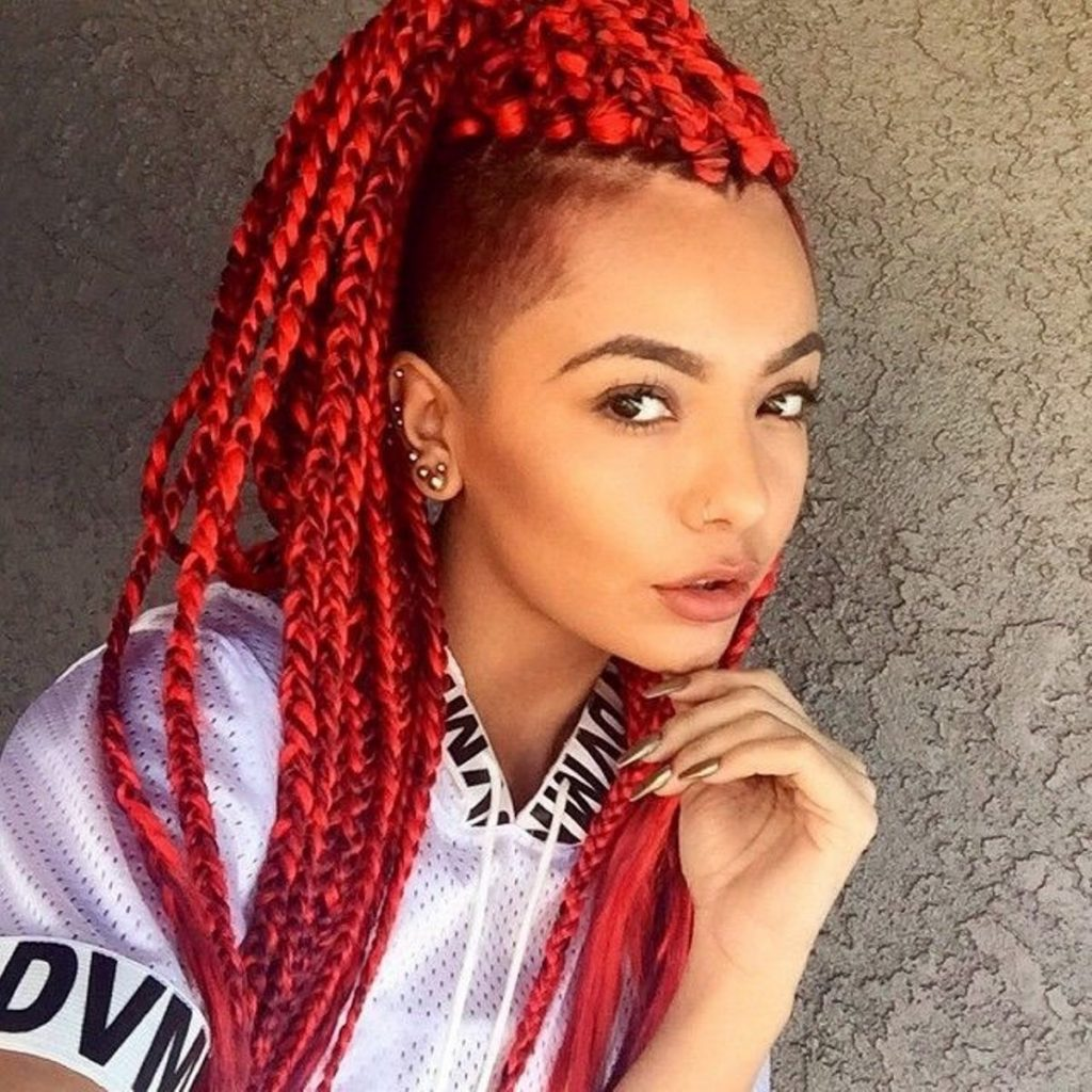 Red Box Braid With Side Shave