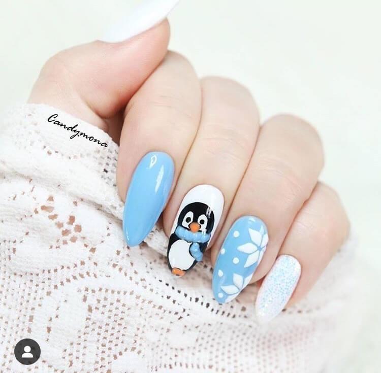 Snow Penguin Nail Design