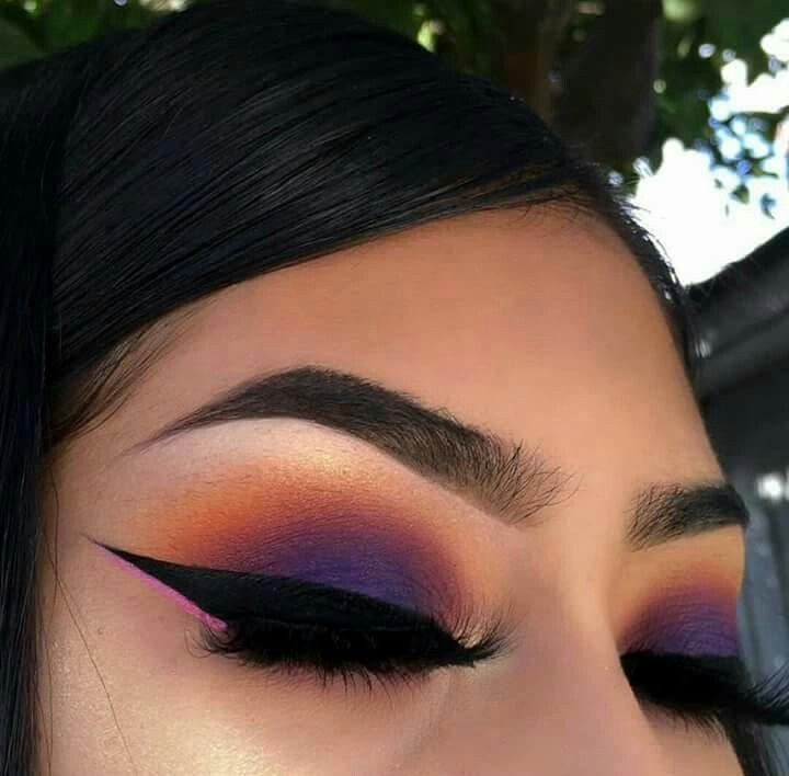 Purple And Orange Sunset Eyeshadow Look