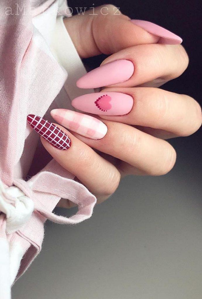 Stripe Valentine Nail Design