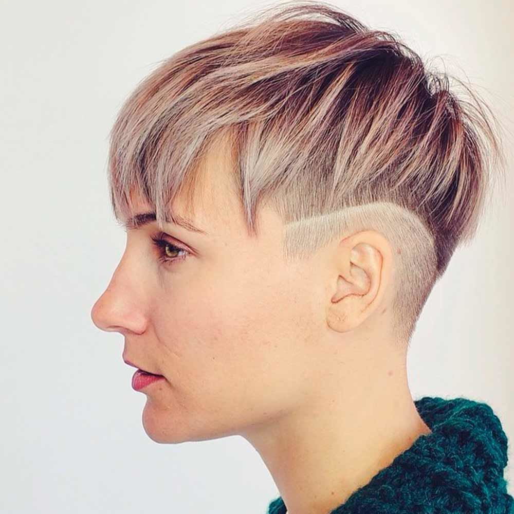 Blonde Androgynous Haircut With Bald Sides
