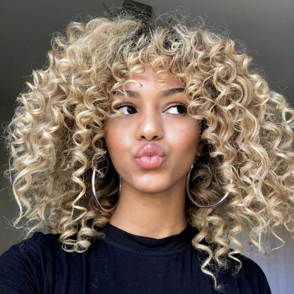 Curly Hair With Curtain Bangs