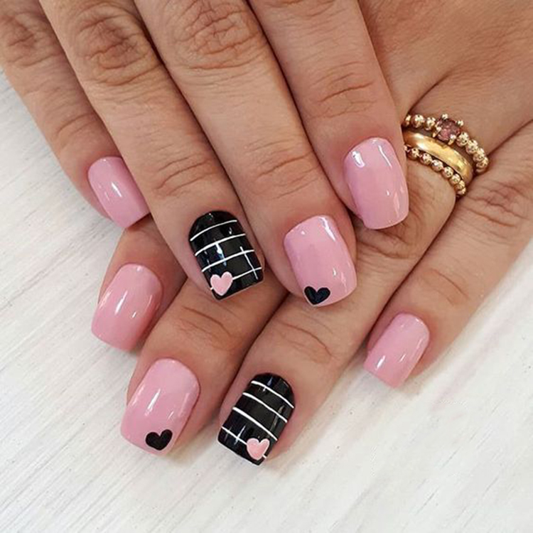 Heart Shape Valentine Nails