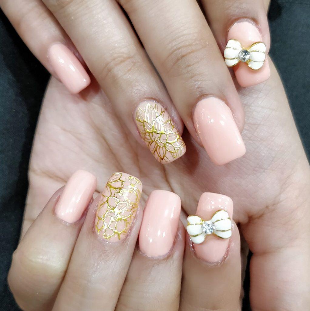 Matte Pink Bow Nail
