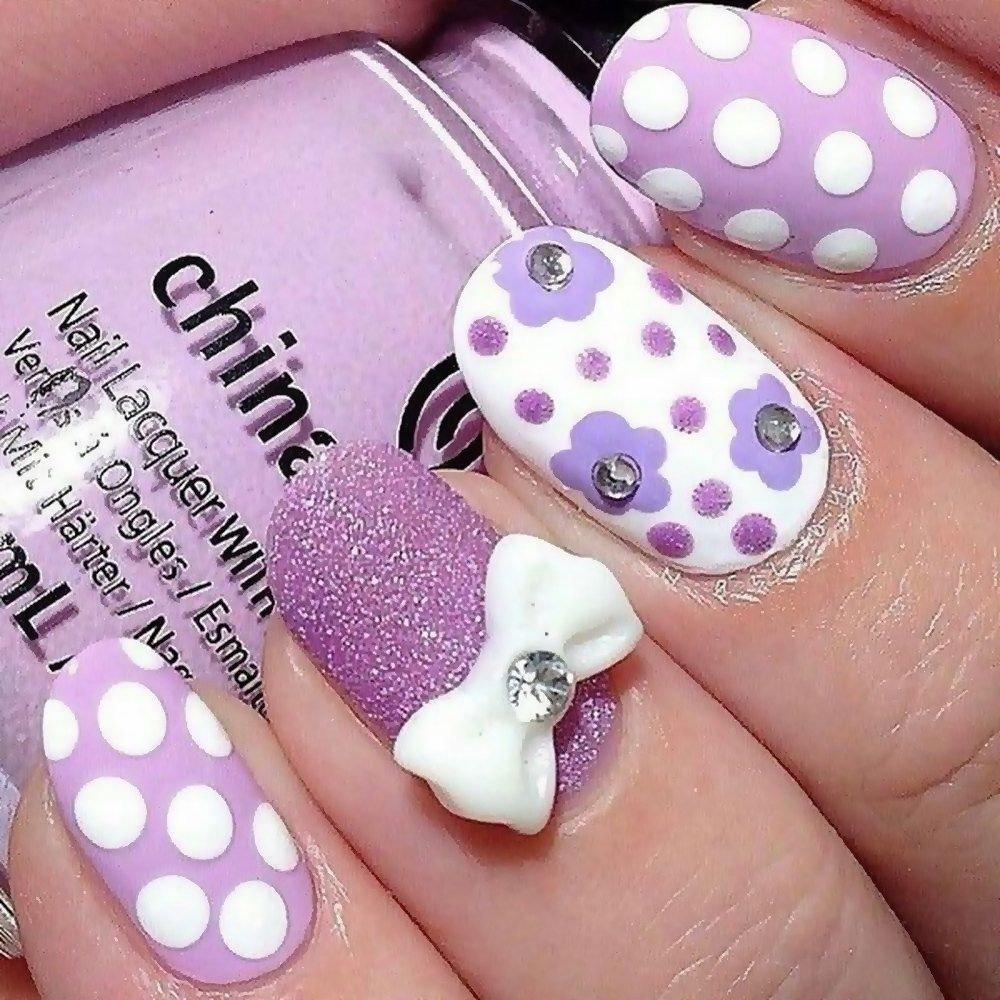Purple Polka Dot Bow Nail Art