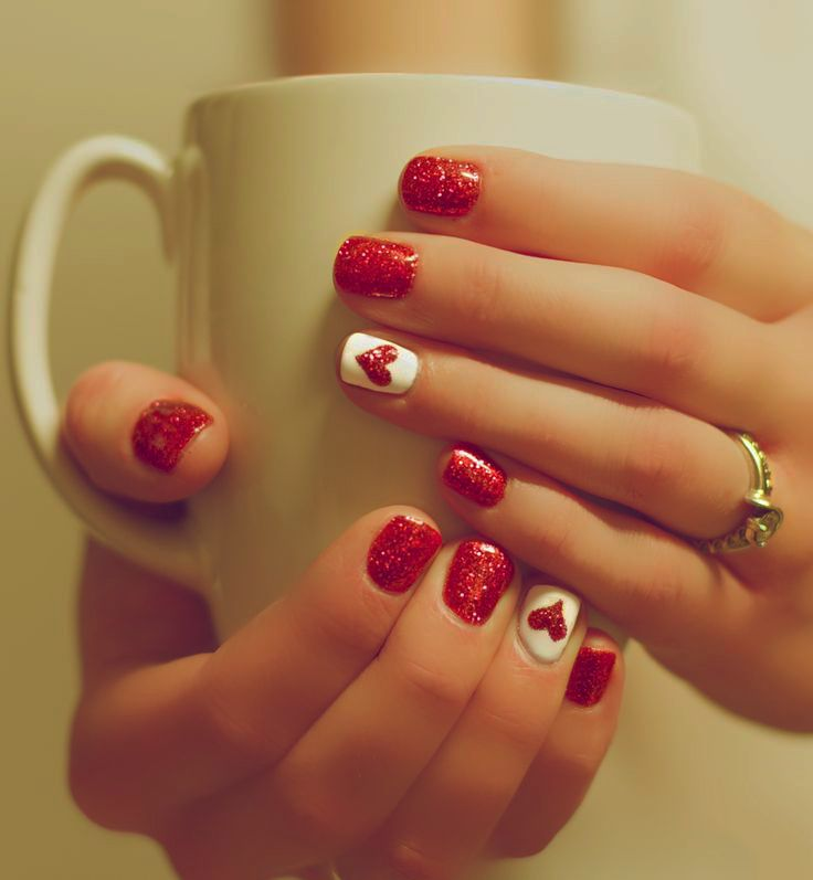 Cute Red Valentines Day Nails