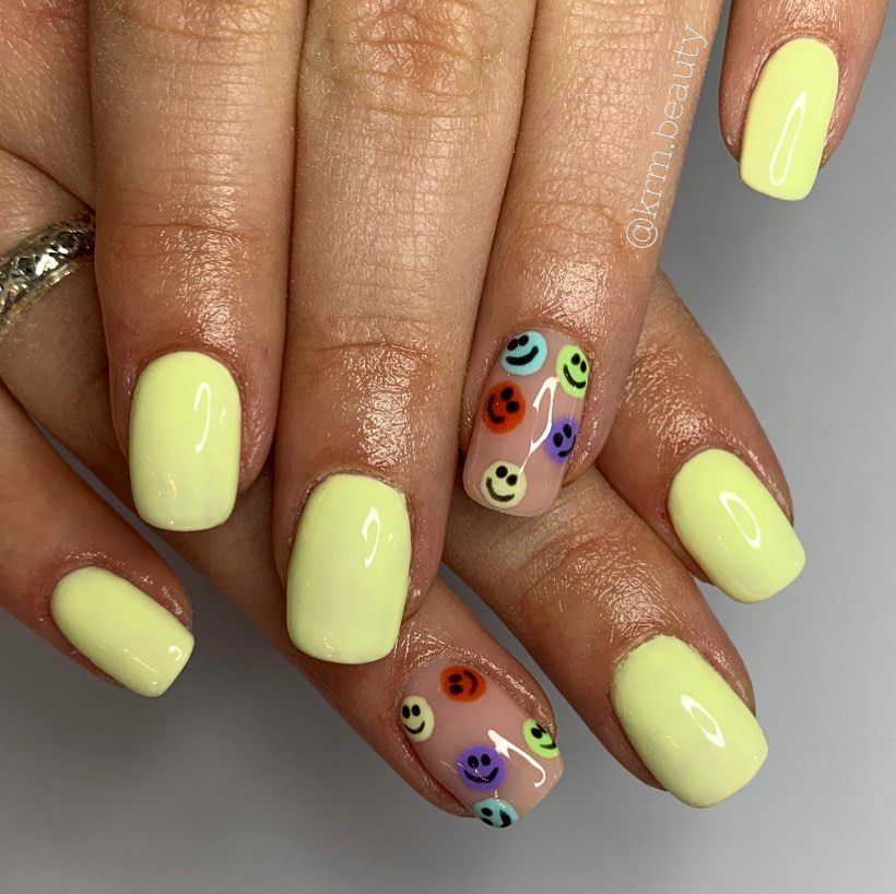 Cute Yellow Smiley Nails