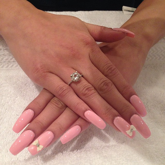 Pink French Bow Manicure