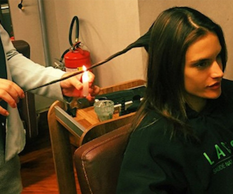 Cutting hair with fire