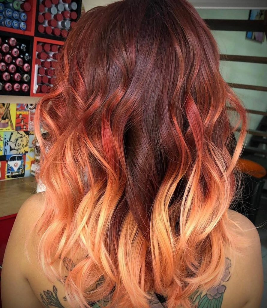 Ginger Fire Ombre Hair Color